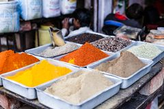 Traditional spices market in India. Royalty Free Stock Photos
