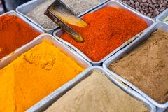 Traditional spices market in India. Royalty Free Stock Images