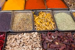 Traditional spices market in India. Royalty Free Stock Photography
