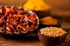 Traditional spices, oriental theme with seasoning Stock Image