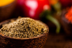 Traditional spices, oriental theme with seasoning Royalty Free Stock Photography