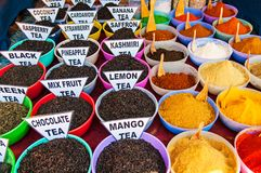 Traditional spices and tea market in India Stock Photos