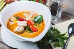 Traditional spicy Thai Tom Yam soup Stock Photo