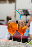 Traditional Spritz aperitif  in a bar in Italy Stock Image