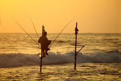 Traditional Sri Lanka Fishing Technique In Ocean Surf Stock Photography