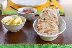 Traditional sri lankan coconut pol roti flat bread stock image
