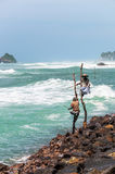 Traditional sri lankan fishermen Royalty Free Stock Image
