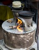 Traditional Sri Lankan two pot woodburning stove. Detail of the traditional Sri Lankan two pot woodburning stove Royalty Free Stock Photography