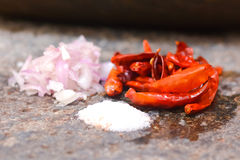 Traditional Sri Lankan way of grinding spices Royalty Free Stock Photo