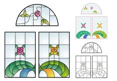 Traditional Stained Glass patterns Stock Photography