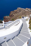 Traditional stairway in Oia town on Santorini island Royalty Free Stock Photo