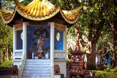The traditional statue of buddha and colorful Stock Image