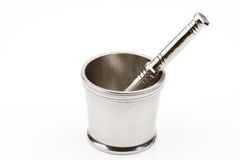 Traditional steel mortar and pestle Royalty Free Stock Photography