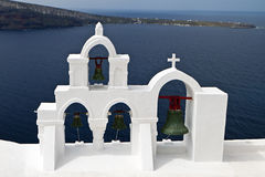 Traditional steeple at Santorini island Royalty Free Stock Images