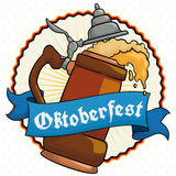 Traditional Stein and Greeting Ribbon for Oktoberfest Celebration, Vector Illustration. Poster with delicious frothy beer served in a traditional stein with a Royalty Free Stock Image
