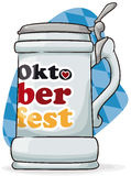 Traditional Stein For Oktoberfest Event, Vector Illustration. Poster with stein for Oktoberfest celebration with greeting message ready to be filled with frothy Stock Images