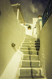 Traditional steps leading to house in Santorini Island Stock Images