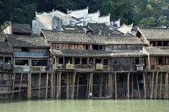 Traditional Stilt Houses In The Most Beautiful Ancient Town In China, Fenghunag Town, Hunan Province. Stock Photos