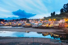 Traditional stilt houses know as palafitos in the city of Castro at Chiloe Island. In Southern Chile Stock Photography