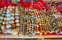 Stone beads, market of Inn Thein Indein village on Inle Lake,. Traditional stone beads, decorated with ancient tribal patterns are perfect gifts from Myanmar Stock Image