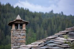 Traditional Rhodopean stone built chimney stock photos