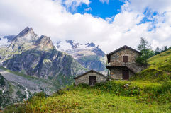 Traditional stone houses in the Alps Stock Image