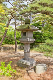 Traditional stone lantern (toro) in Takamatsu castle, Japan Royalty Free Stock Images