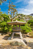 Traditional stone lantern (toro) in Takamatsu castle, Japan Stock Photo
