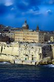 Close Up Sea View at Valletta,Malta. Traditional stone made building in Valletta,Malta in sunny day wit blue sky and some clouds Royalty Free Stock Image