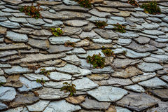 Traditional stone roof tiles stock photos