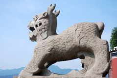 Traditional stone sculpture in front of temple in Sandouping stock images