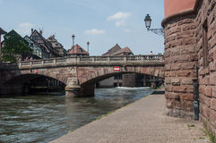 Traditional stoned bridge on IL river at little France quarter in Strasbourg Royalty Free Stock Photos