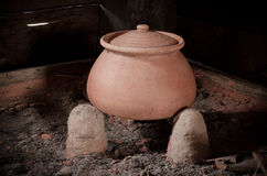 Traditional stove and pottery Stock Photos