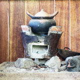 Traditional stove and pottery in Thai kitchen Stock Images