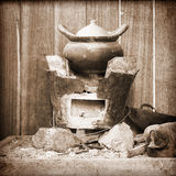 Traditional stove and pottery in Thai kitchen; Vintage Style Royalty Free Stock Image
