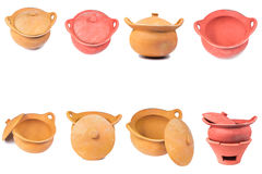 Traditional stoves and pots set made of red clay Royalty Free Stock Image