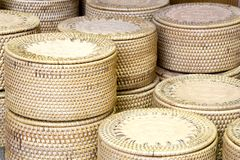 Traditional Straw Containers. Traditional containers made of straw and coconut shell Stock Photography