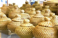 Traditional Straw Containers. Traditional containers made of dried leaves Stock Image
