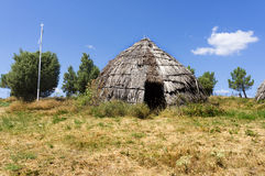 Traditional straw hut in greek country Stock Photography
