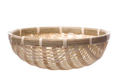 Traditional Straw Weaved Basket Isolated Stock Image