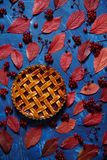 Traditional strawberry pie tart cake sweet baked pastry food on color blue background. Autumn composition decoration. Stock Images