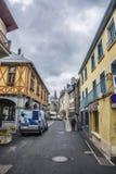 Traditional street in Arreau Stock Photo