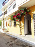 Traditional street among bougainvillaea in rethymno city Greece Royalty Free Stock Images