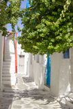Traditional street of the greek island Mykonos in Greece Royalty Free Stock Photography