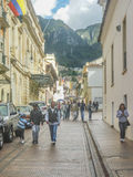 Traditional Street at Historic Center of Bogota Colombia Stock Images