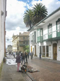Traditional Street at Historic Center of Bogota Colombia Royalty Free Stock Photos
