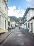 Traditional Street at Historic Center of Bogota Colombia Royalty Free Stock Image