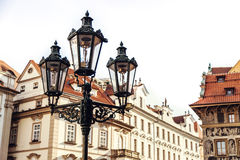 Traditional street lamp on a street in the Old Town Staromestska Namesti of Prague, Czech Republic Royalty Free Stock Image