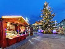 Traditional street market and Christmas tree in Katowice Royalty Free Stock Photography