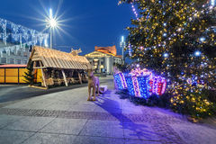 Traditional street market and Christmas tree in Main Market Squa Stock Photography